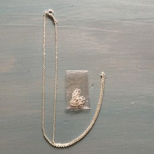 """Jewelry - NEW 16"""" Sterling Silver Plated Chain with Extender"""